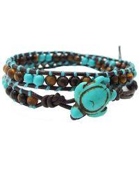 Aeravida - Ocean Sea Turtle Reconstructed Turquoise Double Wrap Leather Bracelet - Lyst
