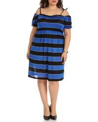 Blue Plate - Women's Blue & Black Babydoll Dress - Lyst