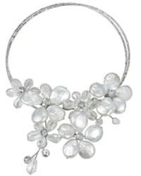 Aeravida - Floral Triangle Stone And Pearl Choker Necklace - Lyst