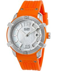 Elini Barokas - Spirit Orange Silicone Mother Of Pearl Dial Ss - Lyst