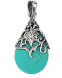 Aeravida - Vintage Vine Adorned Stone Teardrop .925 Silver Pendant - Lyst