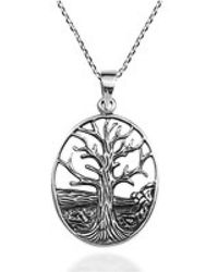 Aeravida - Deep Root Winter Tree Of Life .925 Sterling Silver Necklace - Lyst