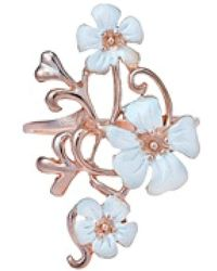 Aeravida - Exotic Plumeria In Bloom Rose Vermeil Solid .925 Silver Ring - Lyst