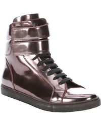 Brunello Cucinelli - Pink Mirrored Leather High-top Trainers - Lyst