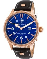 Ben Minkoff - Ranger Black Genuine Leather Blue Dial Rose-tone Ss - Lyst