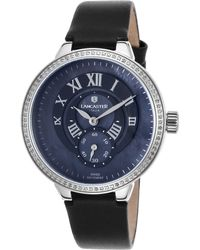 Lancaster Italy   Women's 1p/halley Diamonds Black Leather And Mop Dial Stainless Steel   Lyst