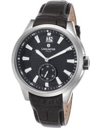 Lancaster Italy - Women's Apollo Black Genuine Leather And Dial Stainless Steel - Lyst