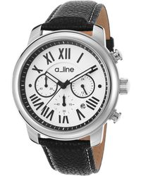 A_line - Amor Chronograph Black Genuine Leather Silver-tone Dial Ss - Lyst