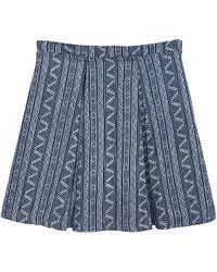 Olive & Oak - Printed Geo Denim Skirt - Lyst