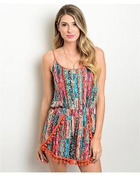 Leather And Sequins - Coral Tassel Boho Romper - Lyst