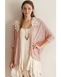 Leather And Sequins - Pink Crochet Knit Kimono - Lyst