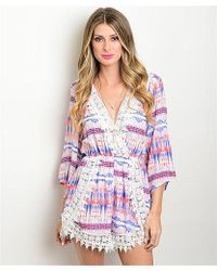 Leather And Sequins - Bright Ikat Crochet Romper - Lyst
