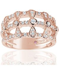 Suzy Levian - Rose Sterling Silver Cubic Zirconia Three Row Multi-shape Ring - Lyst