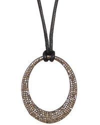 Vanhi - 1.7 Cts Champagne Diamonds Over Sterling Silver With Leather Chain - Lyst