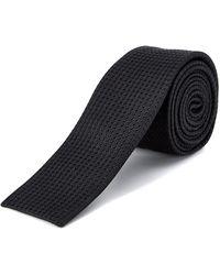 W.r.k. - W.r.k Black Textured Skinny Silk Tie - Lyst