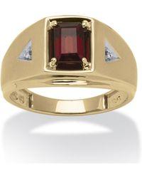 Palmbeach Jewelry - Men's 1.20 Tcw Emerald-cut Genuine Garnet And Diamond Accent Ring In 10k Gold - Lyst
