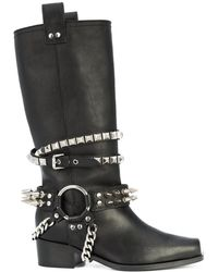 Moschino - Women's Ma24164m05mq0000 Black Leather Ankle Boots - Lyst
