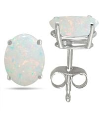 Tia Collections - 7x5 Oval Shape Opal Earrings In 14k White Gold - Lyst