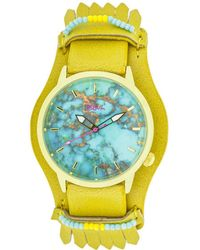 Boum - Originaire Marbleizied-dial Leather-band Watch W/ Fringed Sheath - Lyst
