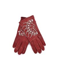 Roberto Cavalli - Red Leather Wool Lined Silver Studded Gloves - Lyst