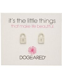 Dogeared - It's The Little Things Locket 14k Over Silver Earrings - Lyst