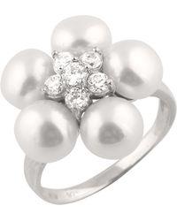 Splendid - Cluster Cz Pearl Ring - Lyst