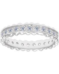 JewelryAffairs  Sterling Silver Ridged Edge Cubic Zirconia Eternity Band  Ring  Lyst