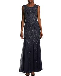 Adrianna Papell - Embellished Lattice Cap-sleeve Gown - Lyst