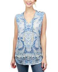 Lucky Brand - Paisley Print Cutout Shoulder Sleeveless Top - Lyst