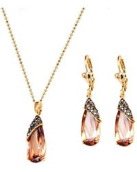 Peermont - Gold And Crystal Elements Wrapped Teardrop Earrings And Pendant Necklace Set - Lyst