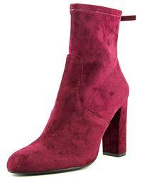 Steve Madden - Brisk Women Round Toe Suede Burgundy Ankle Boot - Lyst