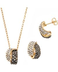 Peermont - Black And White Crystal Elements Knot Earrings And Pendant Set - Lyst