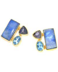 Jewelista - Blue Moonstone & Iolite Silver Earrings - Lyst