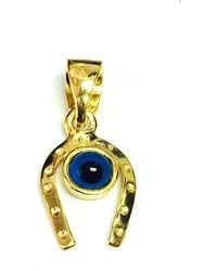 Jewelry Affairs - Sterling Silver 18k Gold Overlay Plated Horse Shoe Evil Eye Charm - Lyst