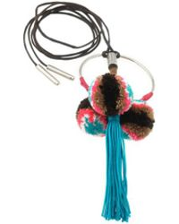 Viviane Guenoun - Adjustable Triple Pompom Tassel Necklace - Turquoise And Multi-colored - Lyst