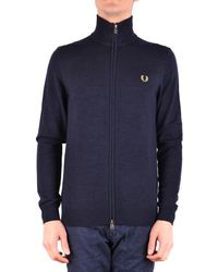 Fred Perry - Men's Blue Wool Jacket - Lyst