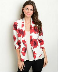 Leather And Sequins - Red White Floral Blazer Jacket - Lyst