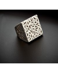 Lois Hill - Silver Cut-out Scroll Square Ring - Lyst