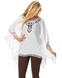Patchington - Poncho With Lace Detail - Lyst