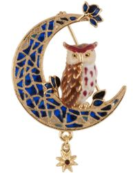Les Nereides - In The Moonlight Eagle Owl And Moon Brooch - Lyst
