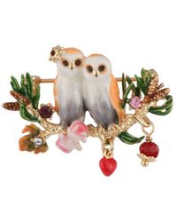 Les Nereides - In The Moonlight Snow Owls Couple With Heart On A Branch Brooch - Lyst
