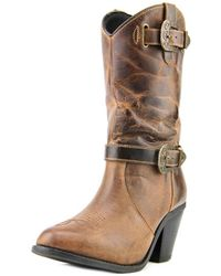 Dingo - Nelly Women Round Toe Leather Brown Ankle Boot - Lyst