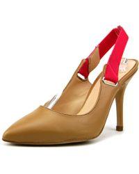 Carmen Marc Valvo - Felix Women Pointed Toe Leather Tan Slingback Heel - Lyst