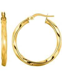 Jewelry Affairs - 14k Yellow Gold Shiny Round Tube Italian Twists Hoop Earring, Diameter 25mm - Lyst