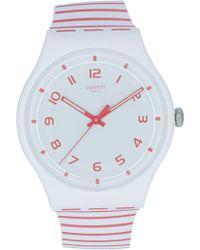 Swatch - Redure Suow150 Matte White Silicone Quartz Fashion Watch - Lyst