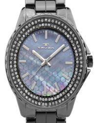 Tavan - Mermaid Ladiesâ¿ Watch With Ceramic Links, Austrian Crystals, Textured Mother Of Pearl Dial - Lyst