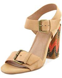 Ella Moss   Tessa Women Open Toe Leather Tan Sandals   Lyst