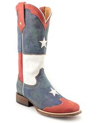 Roper - Americana Boot Women 2e Round Toe Leather Blue Boot - Lyst