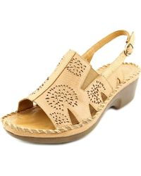 Ariat - Polly Ray Women Open Toe Leather Tan Sandals - Lyst