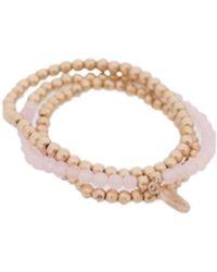 Bungalow 20 - Rose Quartz And Gold Nugget Stretch Bunch Bracelet - Lyst